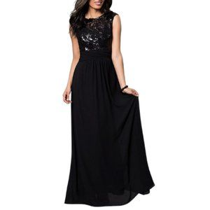 Sleeveless Sequin Lace Bodice Gown Long Maxi Dress